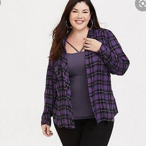 Torrid 00 purple challis camp shirt